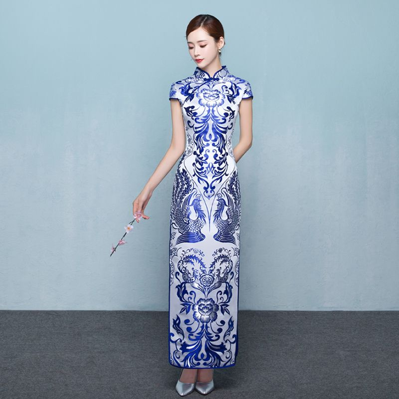 e751faf5cf1a Blue White Quality Cheongsam Dress Classic Traditional Modern Chinese  Wedding Qipao Evening Long Vestido Oriental Vintage #WeddingDressesVintage