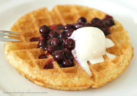 Belgian Waffles With Blueberry Sauce And Sour Cream Ice Cream Waffles Belgian Waffles My Best Recipe