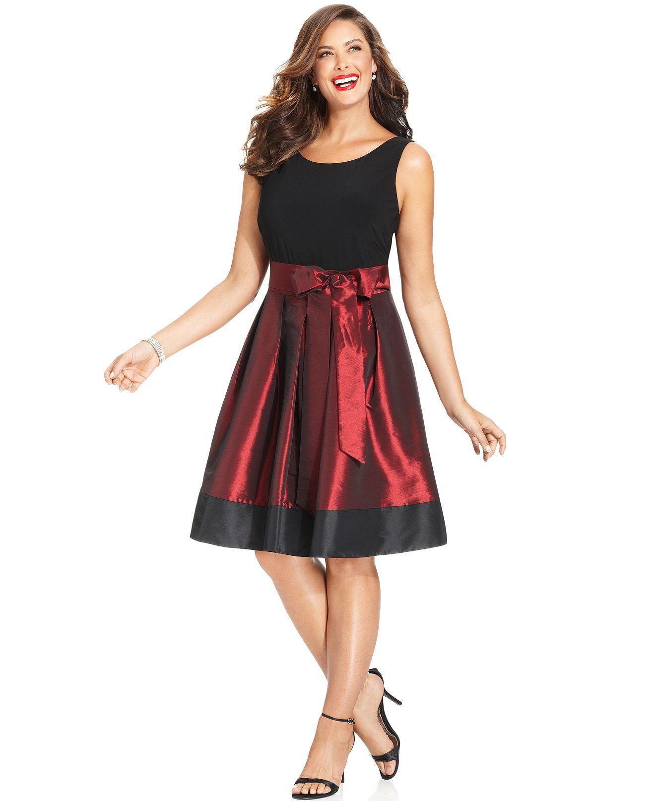 Sl Fashions Plus Size Sleeveless Pleated Side Bow Dress Plus Size