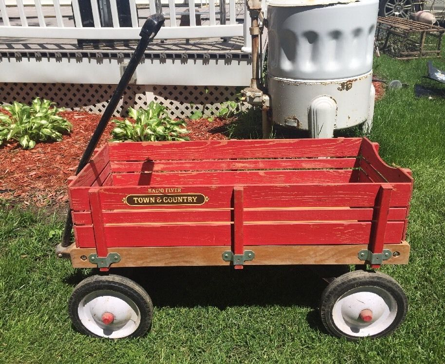 Vintage 1970 80s Radio Flyer Town Country Wagon Wood Stake Sides Look Wood Stake Town And Country Radio Flyer