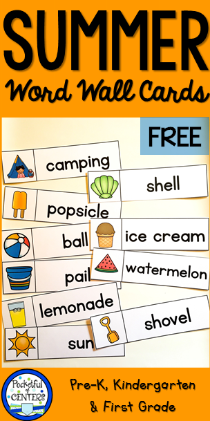 photo regarding Printable Word Wall Cards With Pictures called Summertime Term Wall Terms Cost-free Homeschooling (Montessori