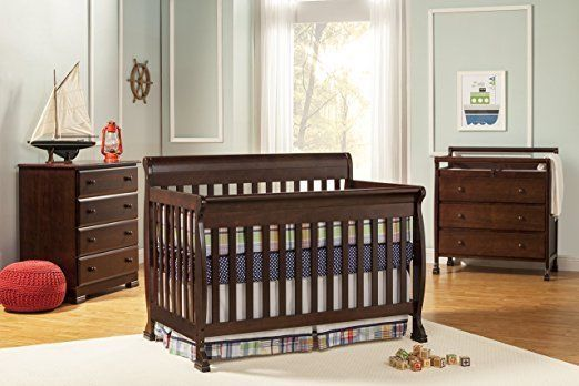 New 4 In 1 Convertible Crib Infant Baby Toddler Nursery Bedroom Bedding Bed Safe
