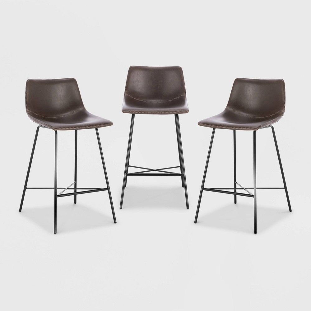 Set Of 3 24 Phillip Counter Height Barstool Brown Poly Bark Counter Stools Stool Poly Bark
