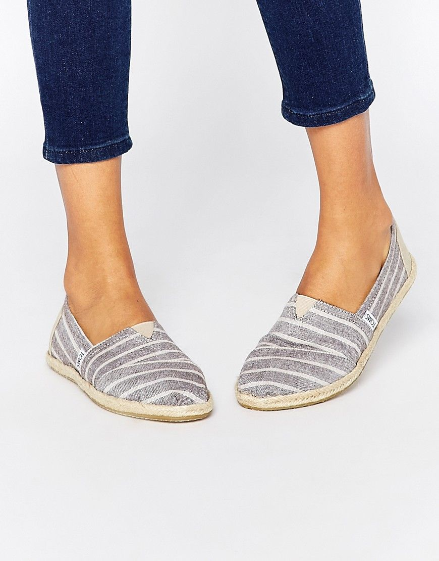 TOMS Classic Brown Stripe Woven Flat Shoes at asos.com