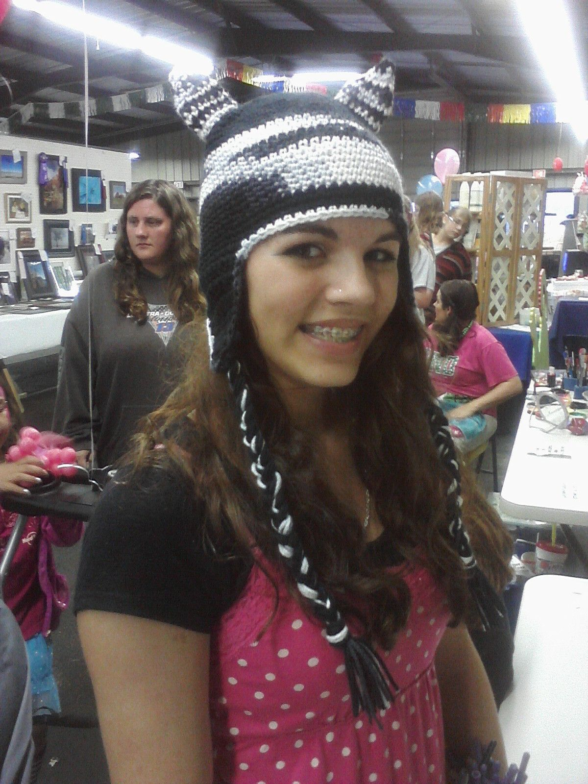 Adult/teen Zebra hat with braided ties