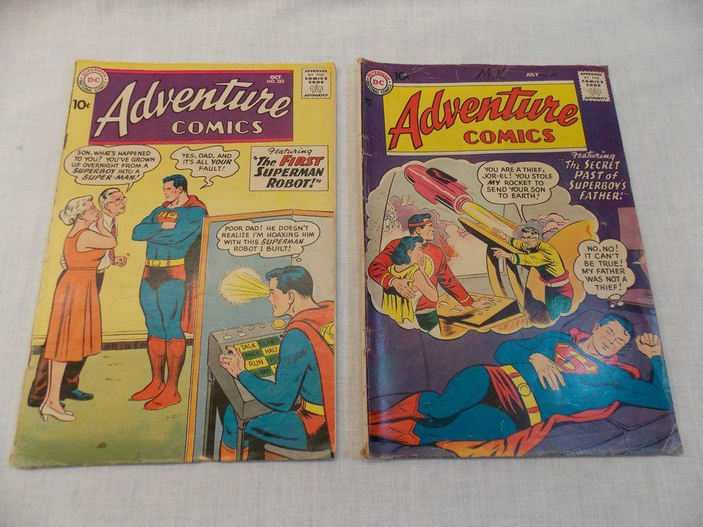 Superman Adventure Comics Book #265 & 238 Vintage Silver Age LOT of 2