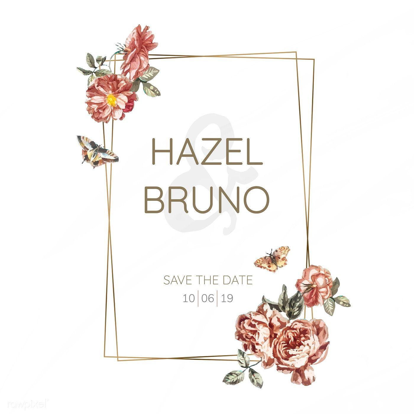 Download premium vector of Floral wedding invitation