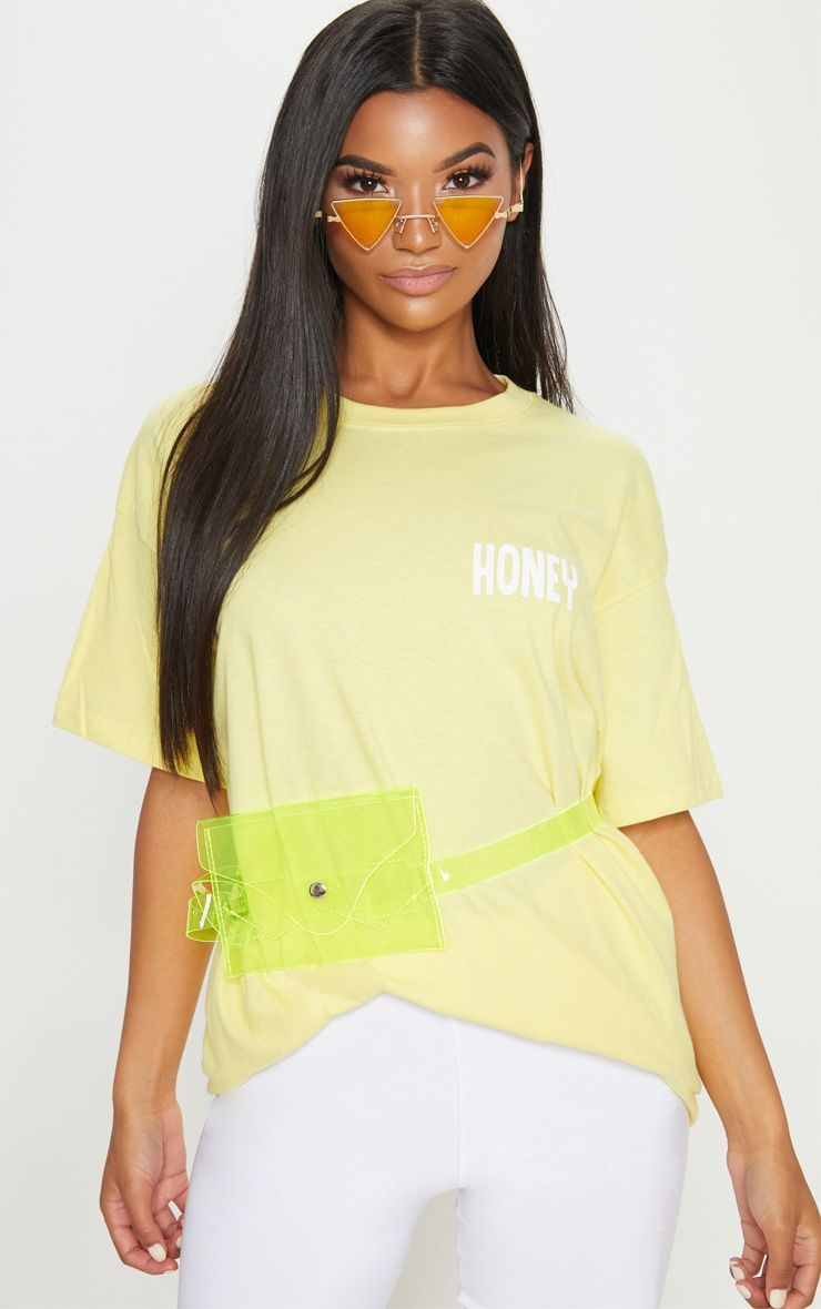 8b57ab0aca Yellow Honey Slogan Oversized T Shirt | My Closet | Shirts, Tops, T ...