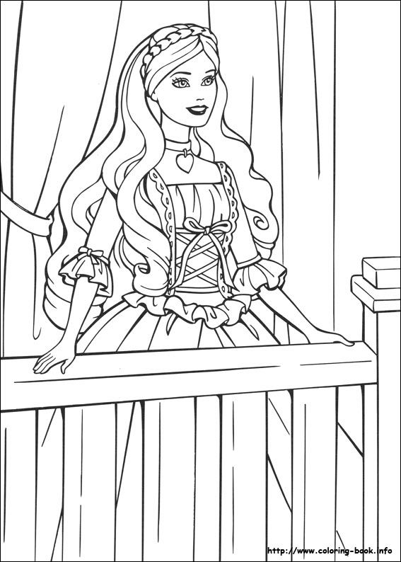Barbie As The Princess And Pauper Coloring Picture