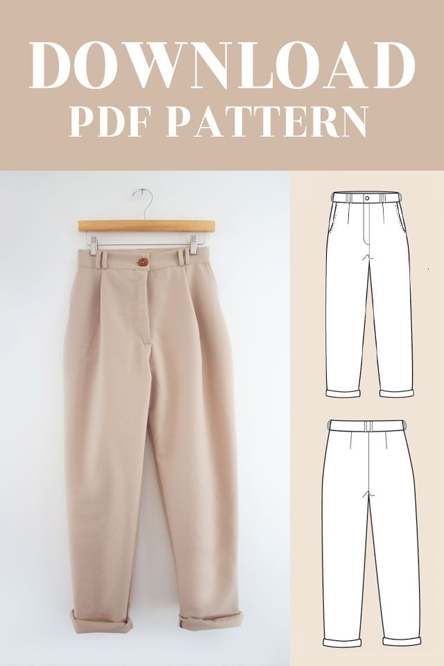 Download PDF Sewing Pattern for high waisted trousers