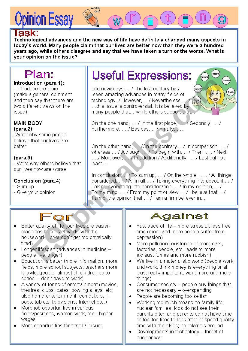 Opinion Essay Is Life Better Now Than A Hundred Years Ago Esl Worksheet By Vickyvar In 2020 Essay Writing Skills Writing Skills Persuasive Writing