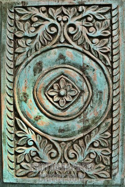 Etonnant Carved Antique Door Panel In Green Wood More