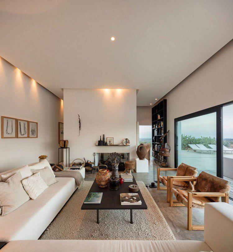 Wohnzimmer mit abgehängter Decke und indirekte Beleuchtung Haus - badezimmer beleuchtung decke