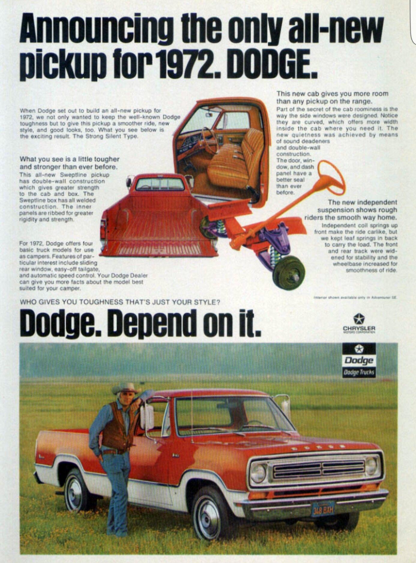 1972 Dodge Pick-Up | classic car ads | Pinterest | Mopar, Cars and ...