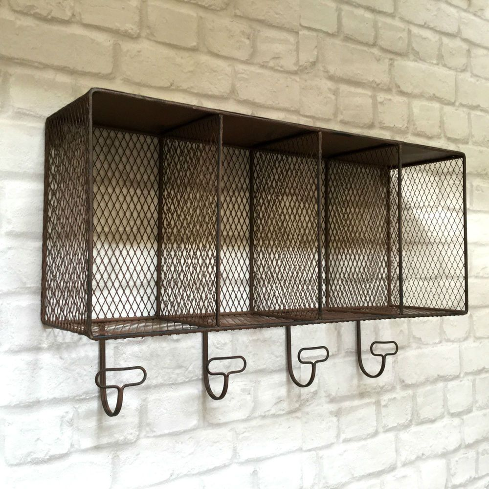 Awesome Vintage Industrial Style Metal Wall Shelf Unit Rack Coat Hooks Storage  Basket