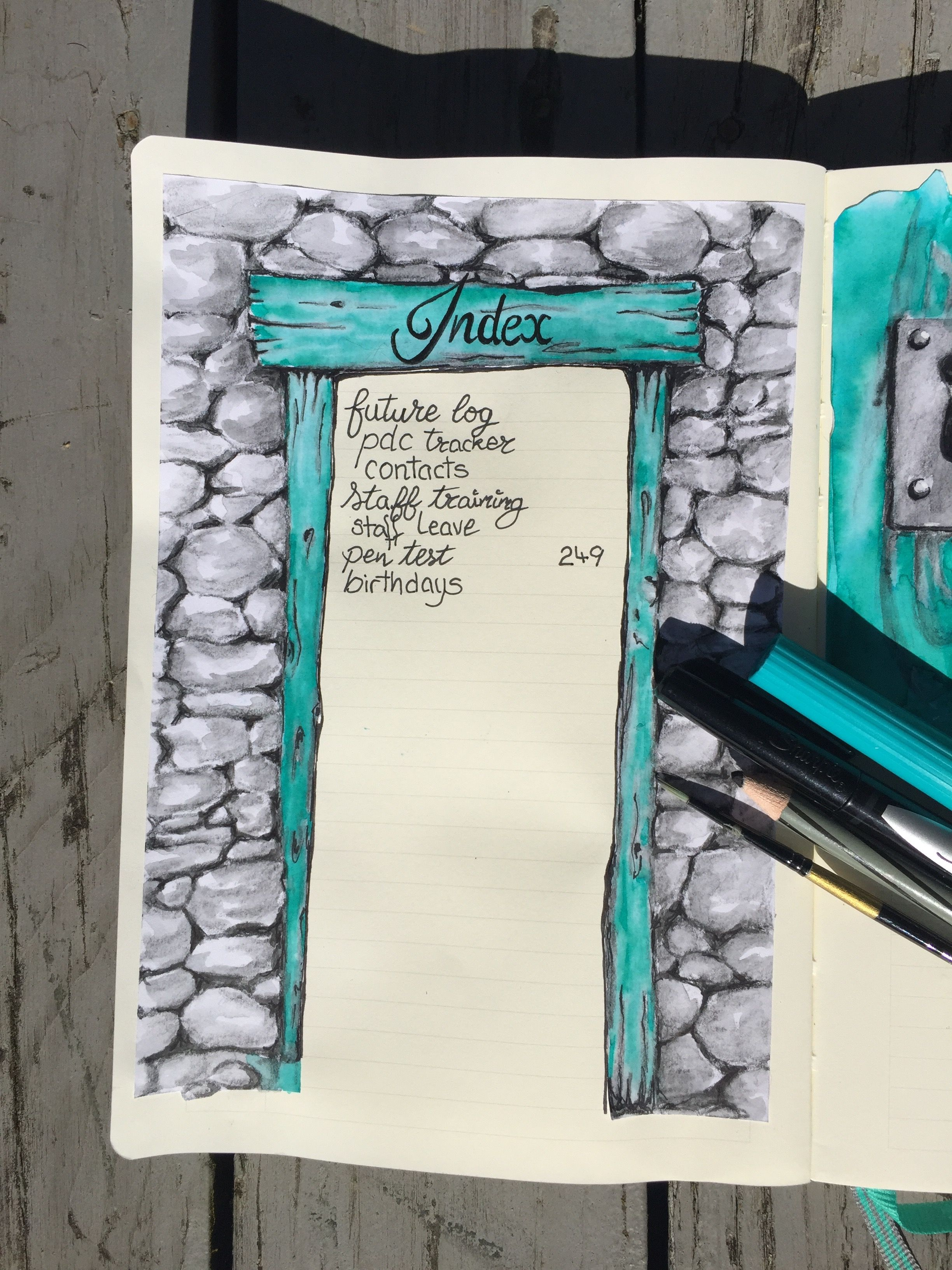Index For Bullet Journal Using A Watercolour Pencil A Tombow Dual