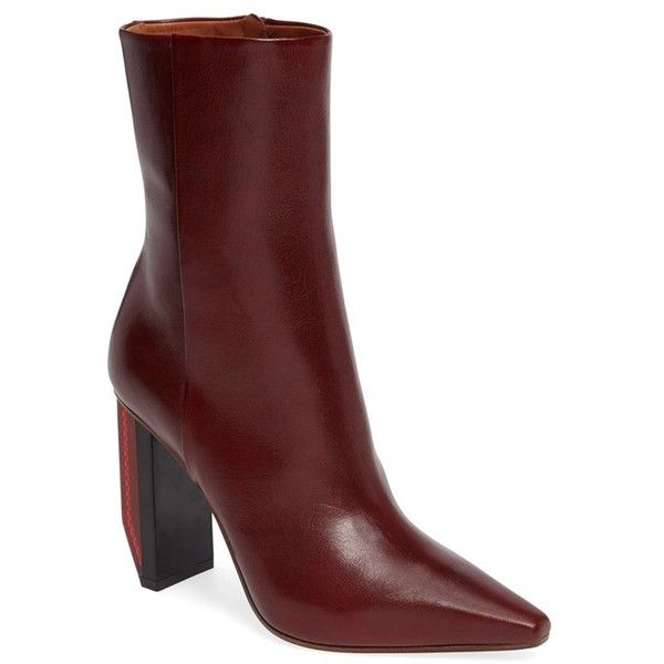 Women's Vetements Reflector Heel Ankle Boot ($1,710) ❤ liked on Polyvore featuring shoes, boots, ankle booties, red boots, leather bootie, burgundy ankle boots, leather booties and red short boots