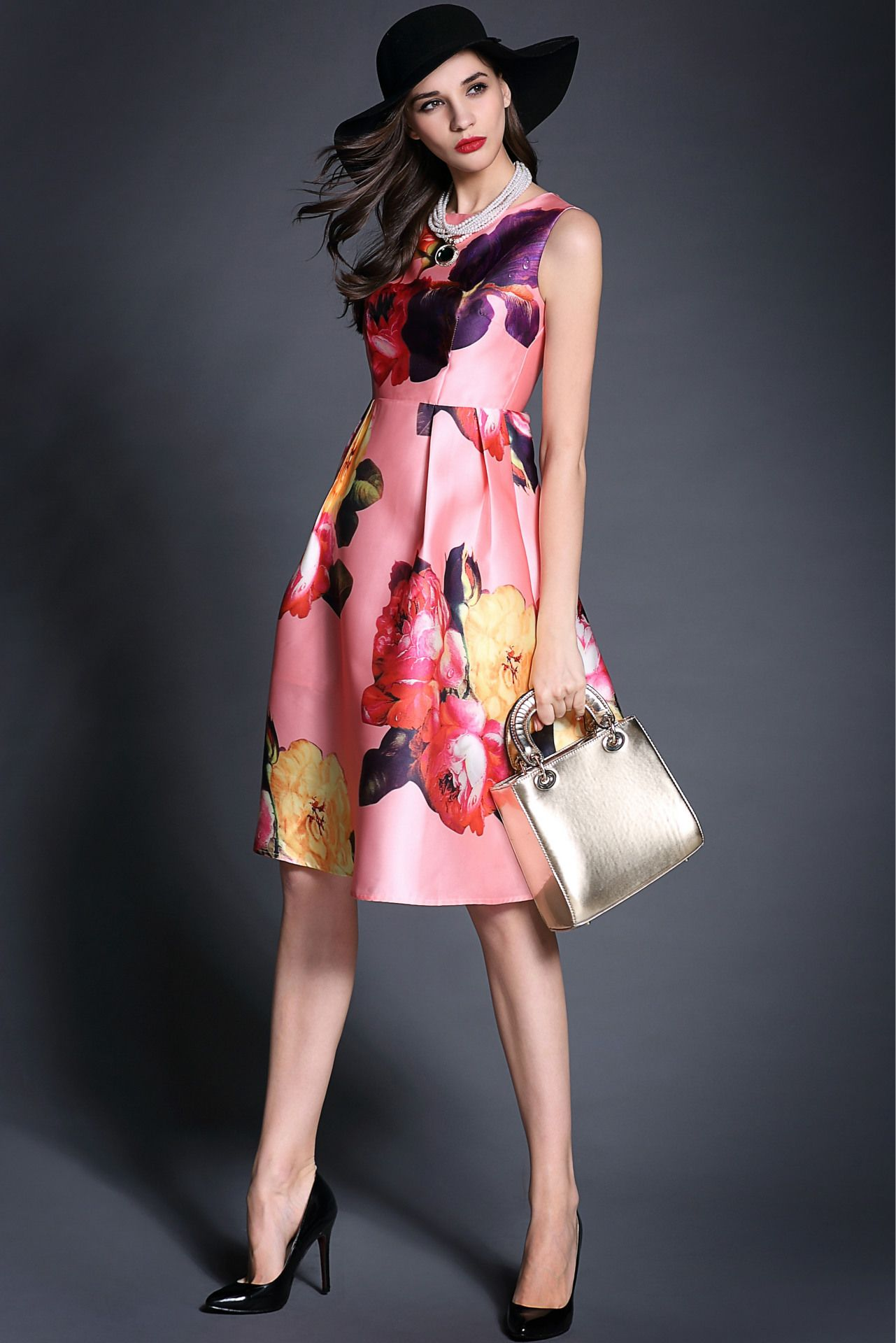 shop for Women Novelty Flower Pattern Round Neck Sleeveless Dress and more for everyday cheap prices at Lalalilo.com - Your Online Womens Clothes Store