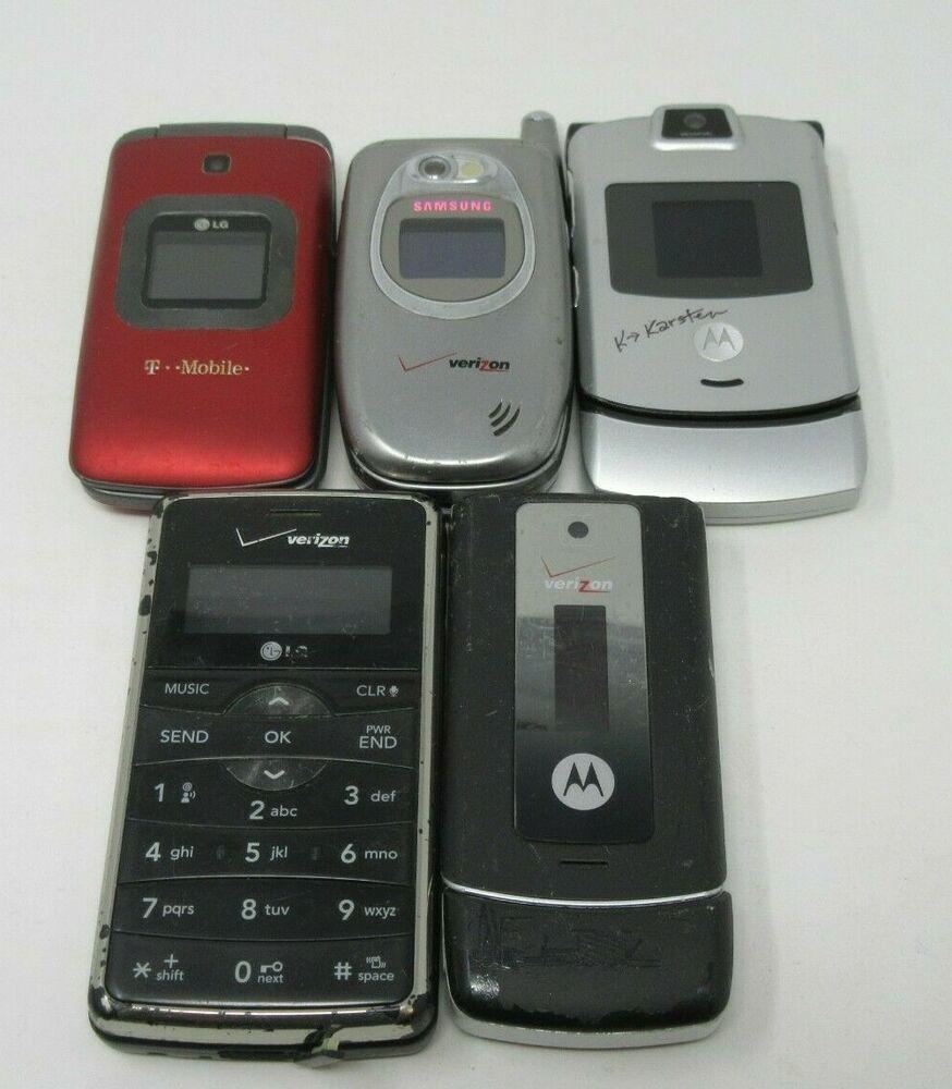 Lot of 5 older various model network flip cell phones