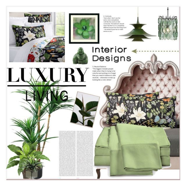"""""""Botanical"""" by purplerose27 ❤ liked on Polyvore featuring interior, interiors, interior design, home, home decor, interior decorating, Haute House, Pottery Barn, Amanti Art and Currey & Company"""