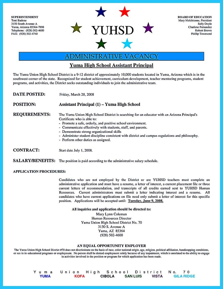 Awesome An Effective Sample Of Assistant Principal Resume Check More At Http Snefci Org An Effective Sample Of Assistant Principal Resume