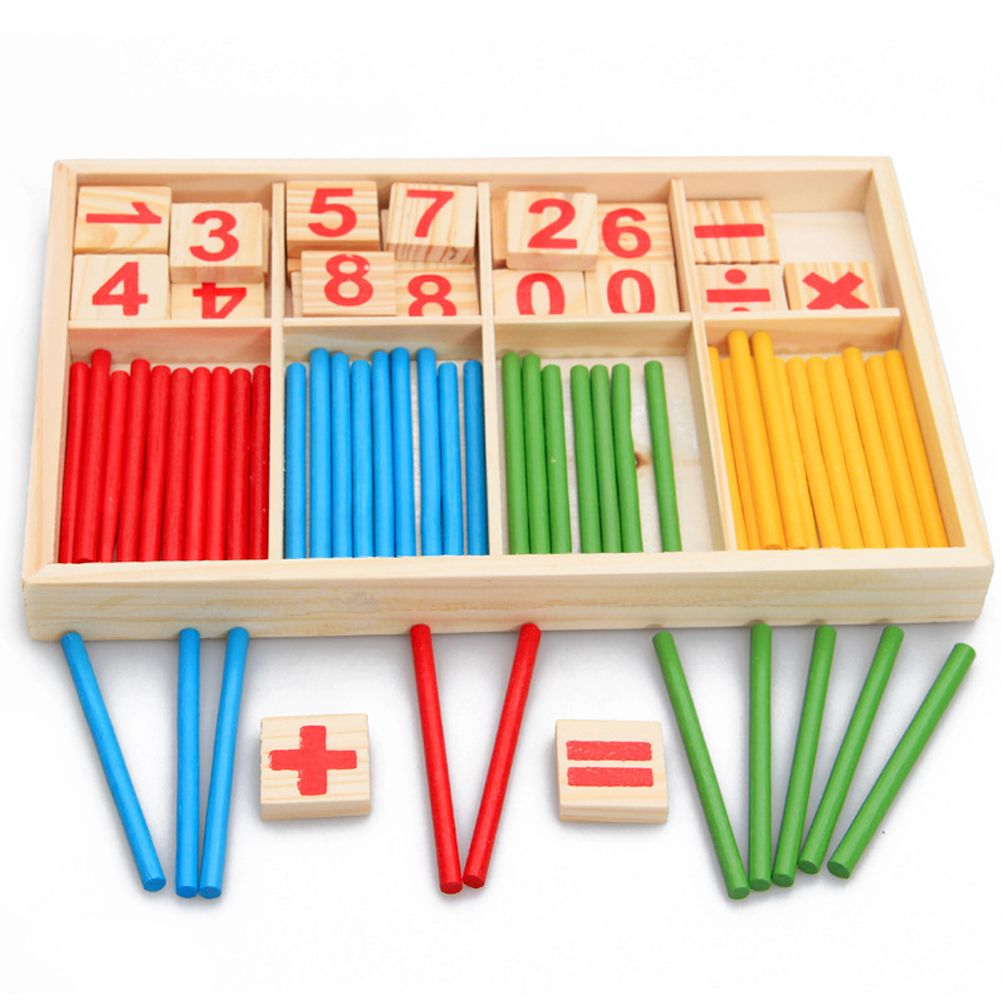Montessori Wooden toy wood Intelligence stick math match game number learning