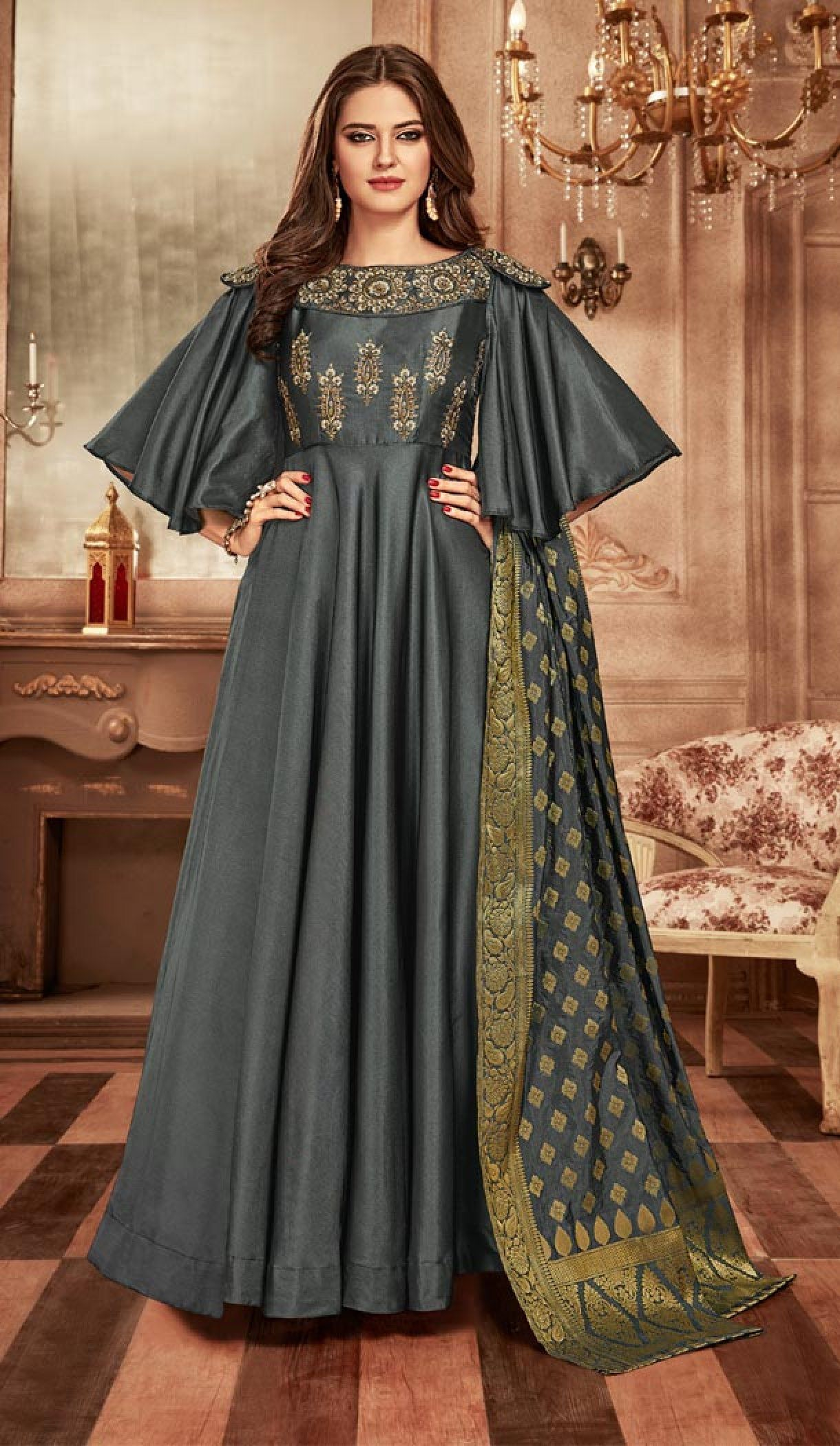cd0bd6fbbf8c Dark Grey Color Tapeta Indo Western Designer Readymade Gown Suit - 403148685