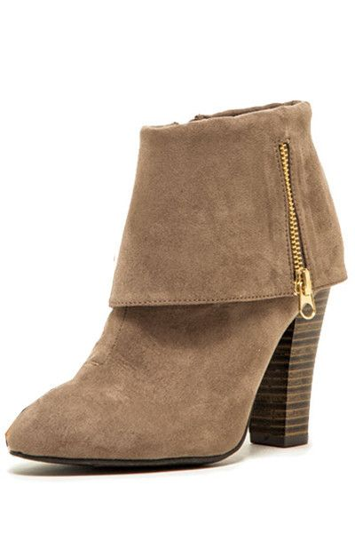 Madge Fold Over Ankle Booties - Taupe RESTOCK ARRIVES NOVEMBER!