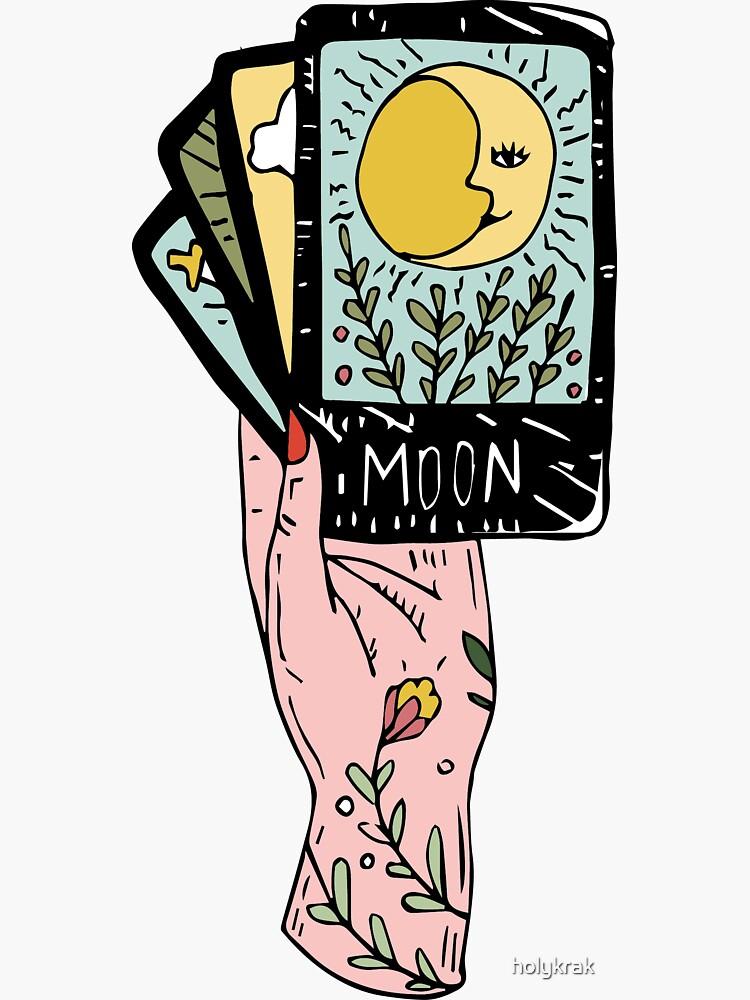 Tarot Hand Sticker By Holykrak Tarot Cards Art The Moon Tarot Hand Sticker