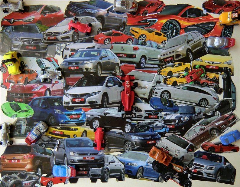 VRAKOVIŠTĚ - na karton lepit fotografie aut vystříhaných z časopisů, překrývanou koláž doplnit o skutečné předměty (malá autíčka, kolečka aut apod.) - koláž, asambláž