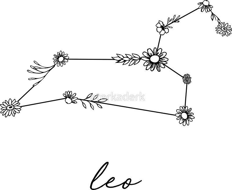 Photo of 'Leo Zodiac Wildflower Constellation' Sticker by aterkaderk
