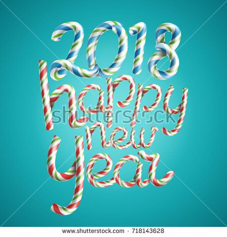 Happy New Year Vector D Sign In Christmas Colours Classic