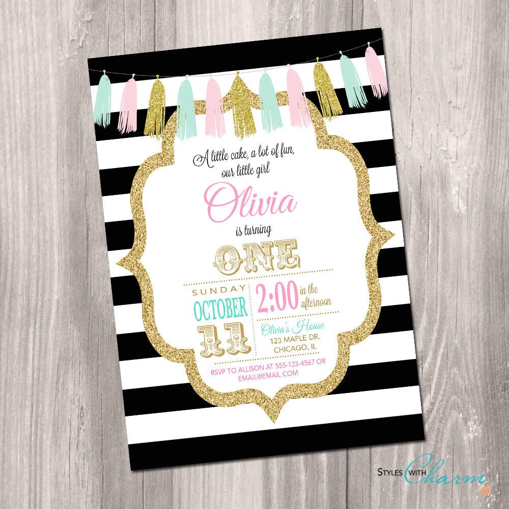 St Birthday Invitation Black And White Pink Gold Mint First - First birthday invitations girl pink and gold