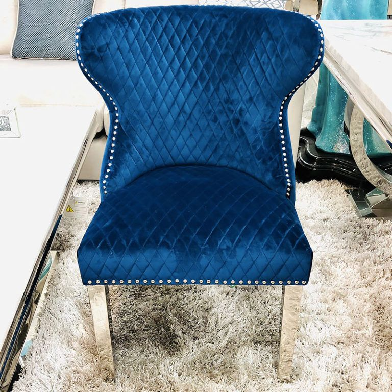 Diana Wide Blue Velvet And Chrome Dining Chair With Lion