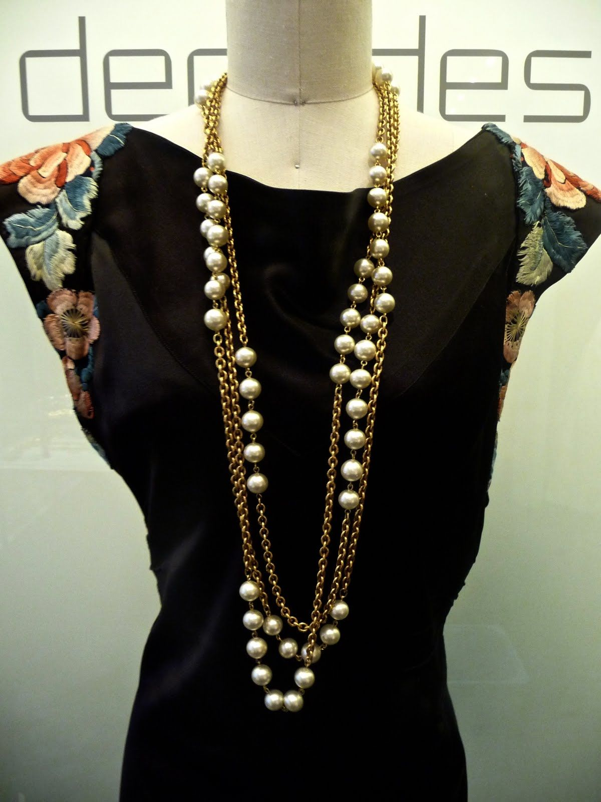 Chanel Triple Connected Gold Chain With Pearls Circa 1980s From Decades