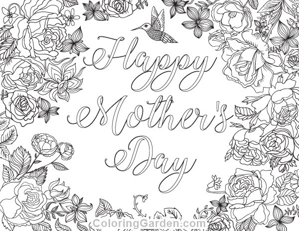 Free printable Happy Mother's Day adult coloring page