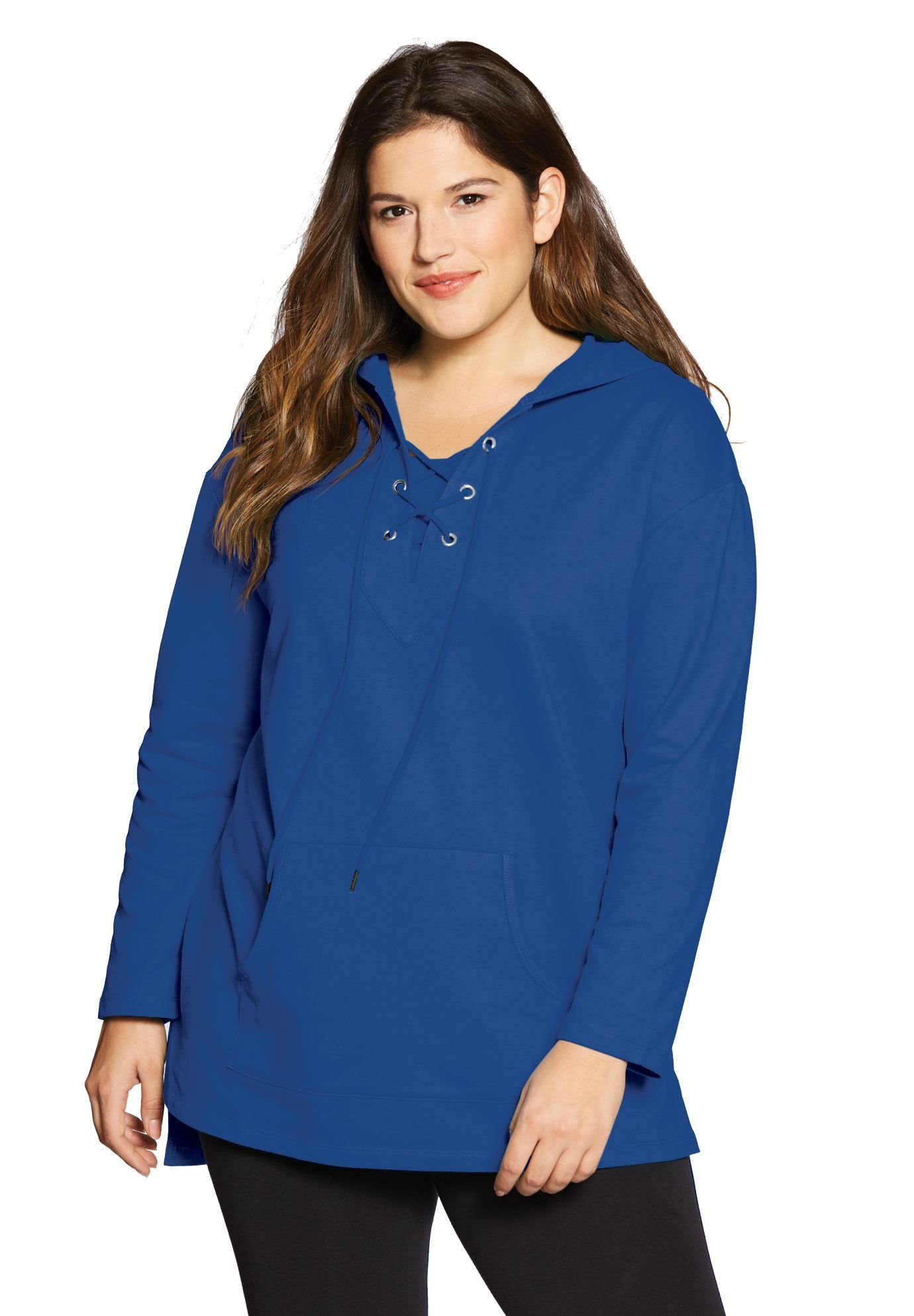 d9968c3a643 Lace-up hooded sweatshirt tunic - Women s Plus Size Clothing ...
