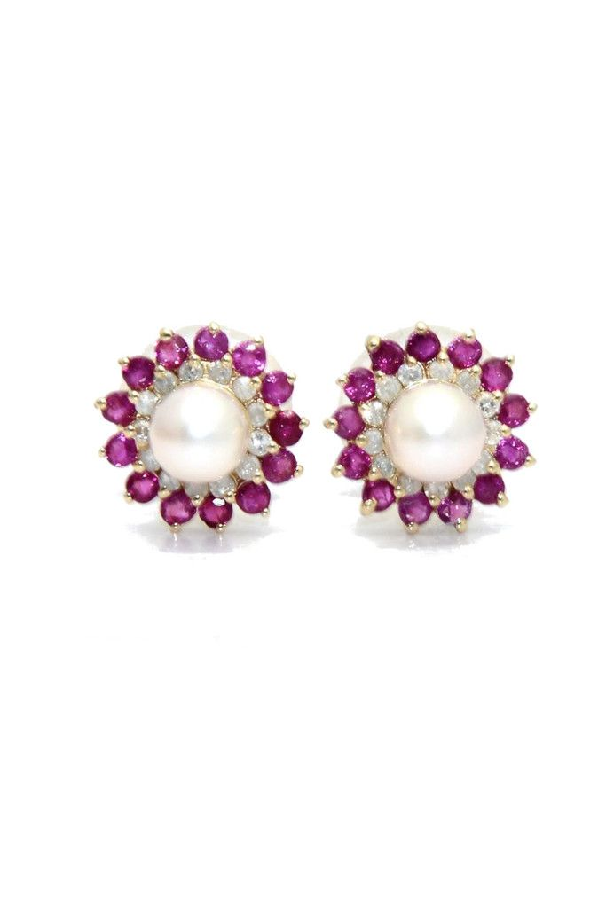 Diamond Ruby Pearl Earrings From Goodnight Macaroon