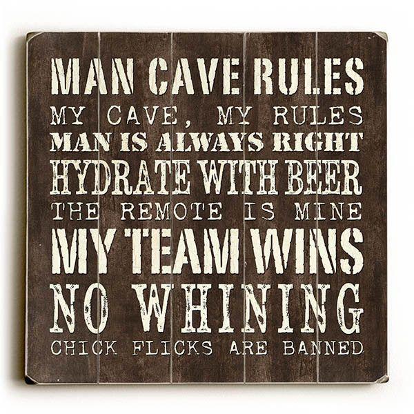 Man Cave Rules By Artist Debbie Dewitt Wood Sign Man Cave Rules Man Cave Posters Man Cave Room