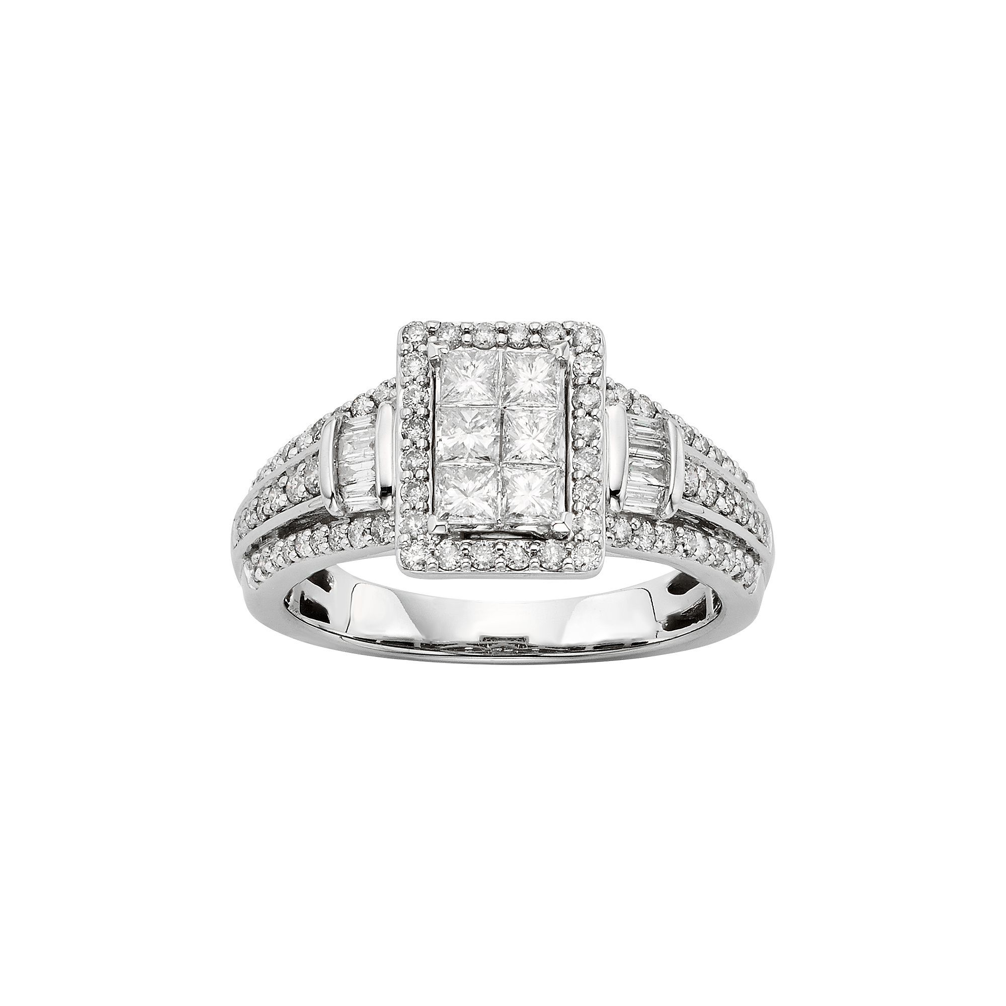 Diamond Tiered Rectangle Halo Engagement Ring In 10k White Gold 1 Carat T W Women S Size 6 50 Princess Diamond Ring Halo Engagement Halo Engagement Ring