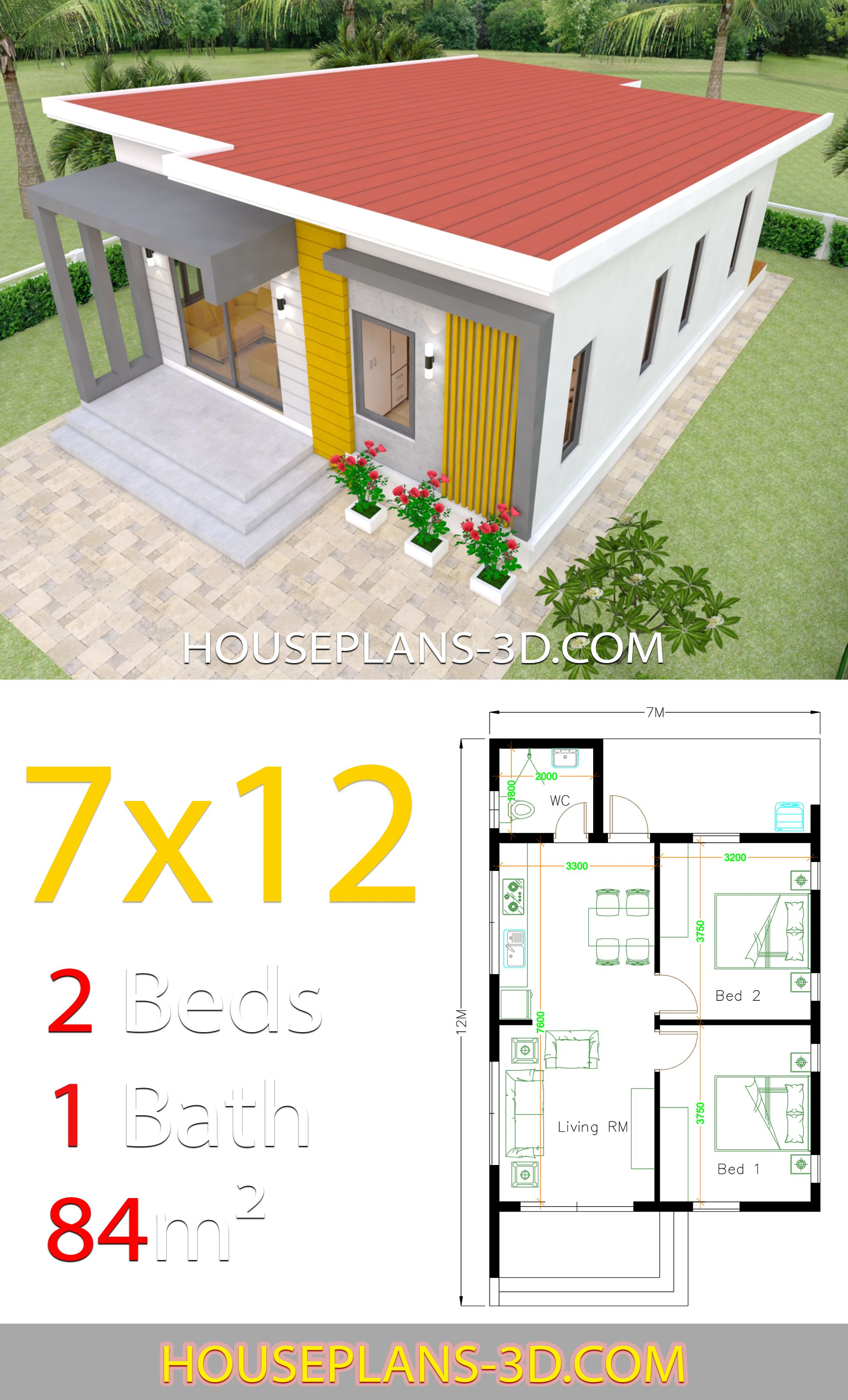 House Design Plans 7x12 With 2 Bedrooms Full Plans House Plans 3d Small House Design Plans Home Design Plans House Design