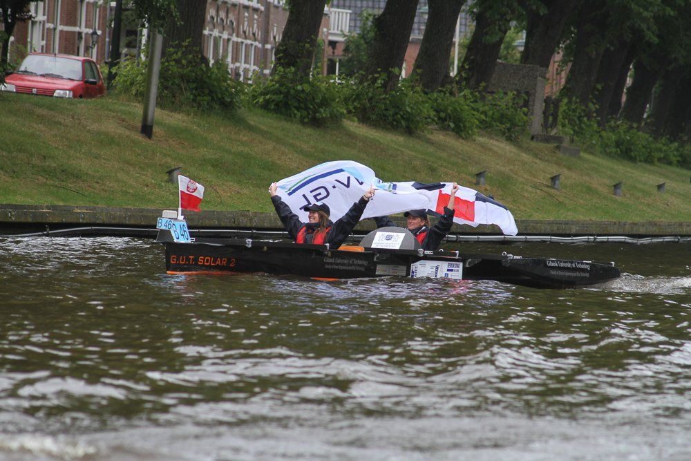 GUT Solar during the Dutch Solar Challenge 2014. They raced in the B class at the world cup for solar powered boats.