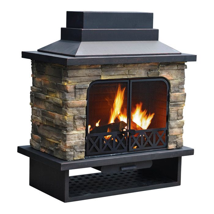 Farmington Steel Wood Burning Outdoor Fireplace Porch Fireplace