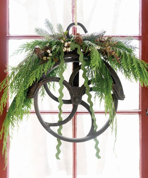 love this idea--uses a treadle pulley from an old sewing machine!