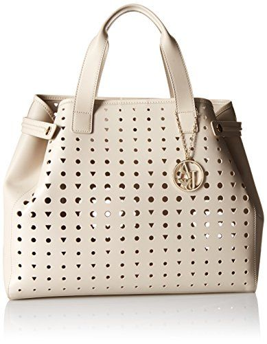 Armani Jeans Perforated Eco Leather East West Tote, Beige…