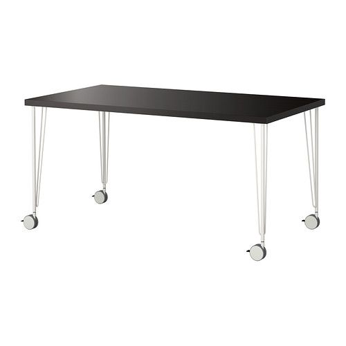 Bon LINNMON/KRILLE Table, Black Brown, White Black Brown/white 59x29 1/2