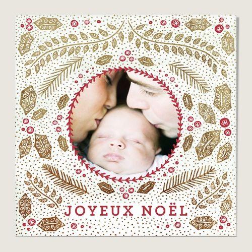 100 Cartes de vœux : Houx de Noël Dorées