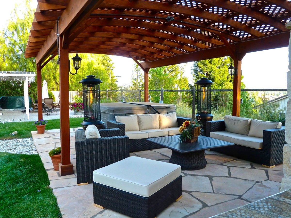 Wood Pergolas, Arched Pergolas, Pergola kits and Gazebos - Outdoor Furniture - Custom Pergola (Options: 35' X 18', Mature Redwood, No Electrical
