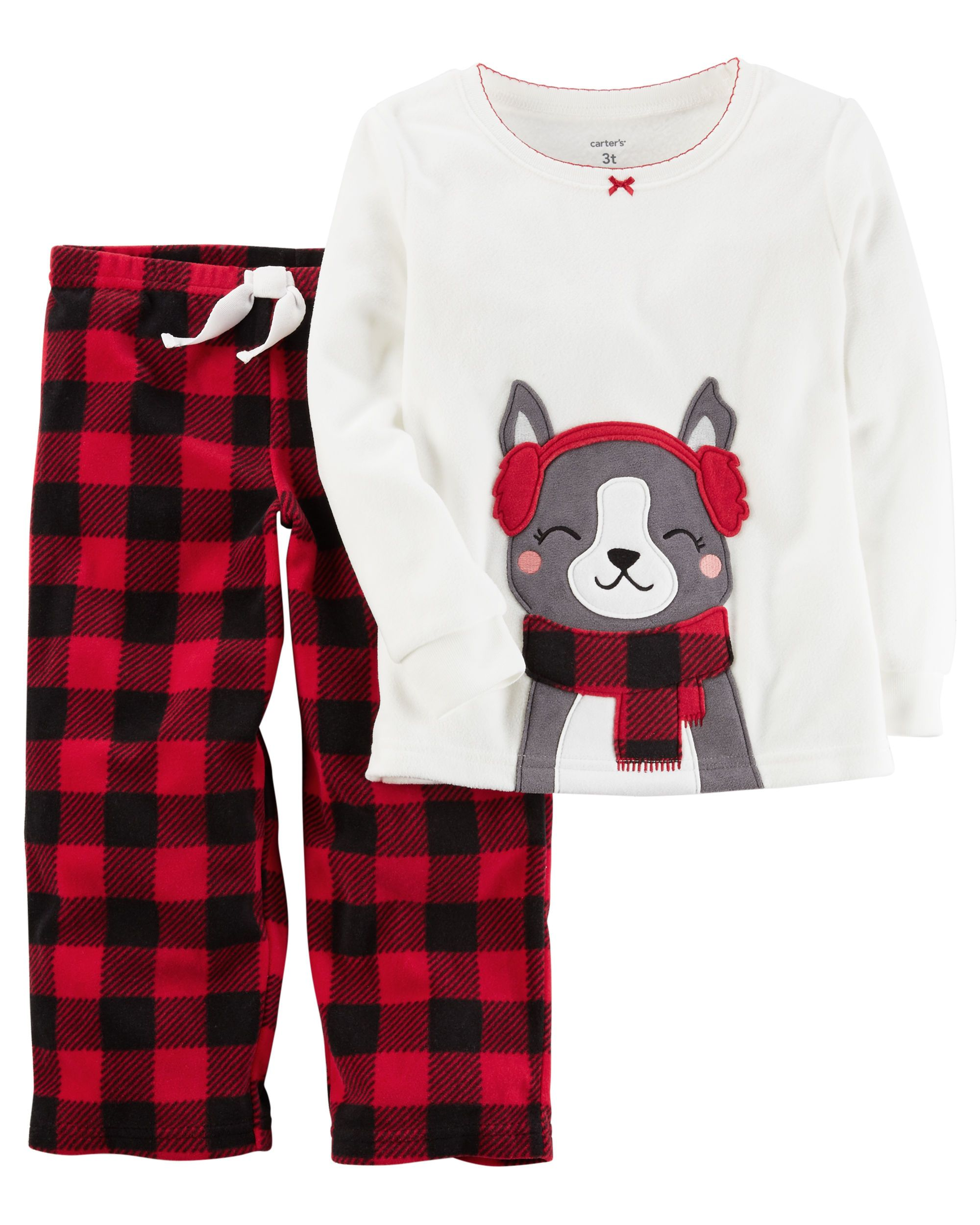 0722ef9754 Kid Girl 2-Piece Christmas Fleece PJs