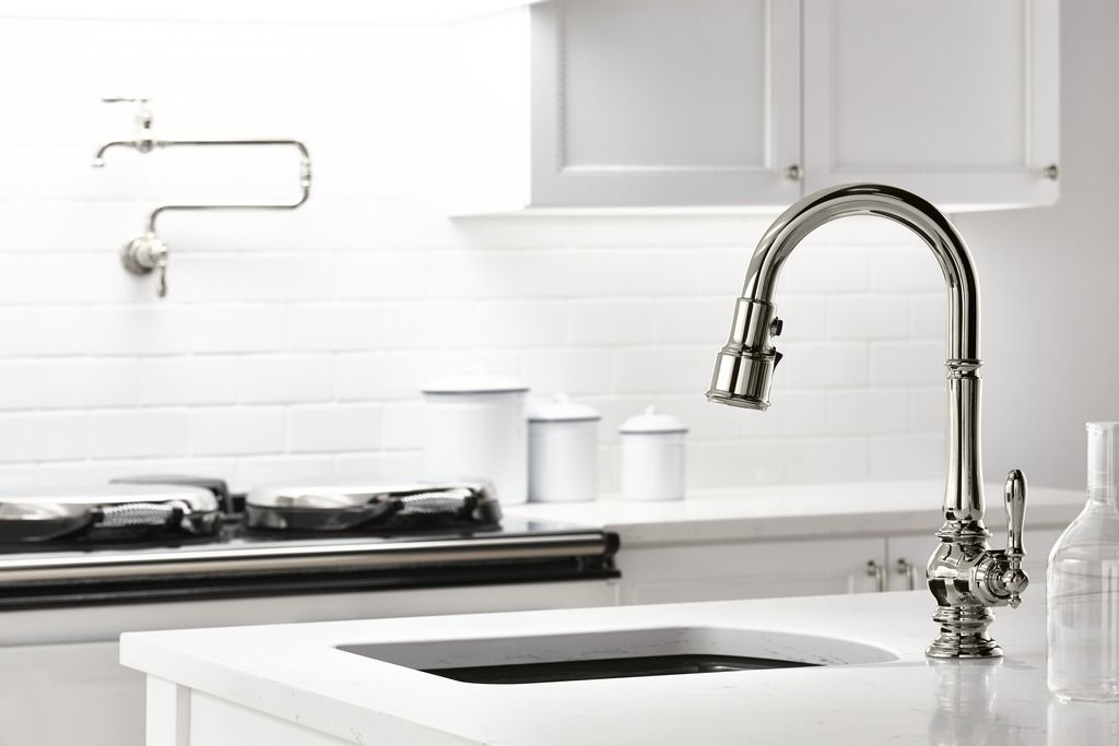 Vintage Faucet Design Stands Out Dramatically In The Midst Of Sleek Simplicity Best Kitchen Faucets Kohler Kitchen Faucet Kitchen Faucets Pull Down